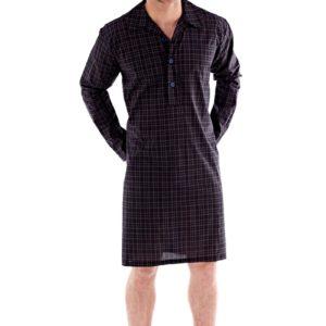 b5f5e8732f17 Pánska nočná košeľa Harvey Black Check M čierna